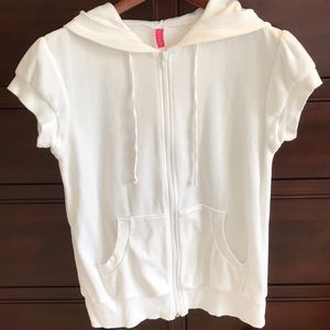 Blush brand white short sleeve Terry Cloth hoodie